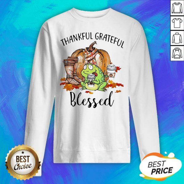 Frog Thankful Grateful Blessed Autumn Fall Sweatshirt