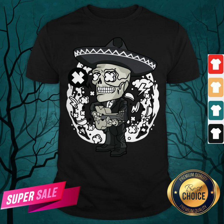 Gentlemen Skeleton Play Guitar Day Of The Dead In Mexican Holiday Shirt