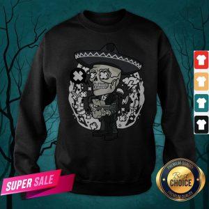 Gentlemen Skeleton Play Guitar Day Of The Dead In Mexican Holiday Sweatshirt