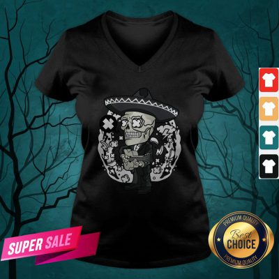 Gentlemen Skeleton Play Guitar Day Of The Dead In Mexican Holiday V-neck
