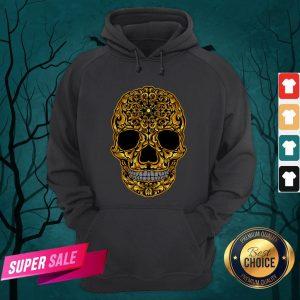 Gold Sugar Skull Day Dead Dia De Los Muertos Hoodie