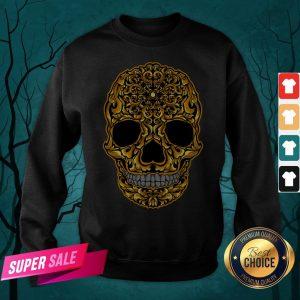 Gold Sugar Skull Day Dead Dia De Los Muertos Sweatshirt