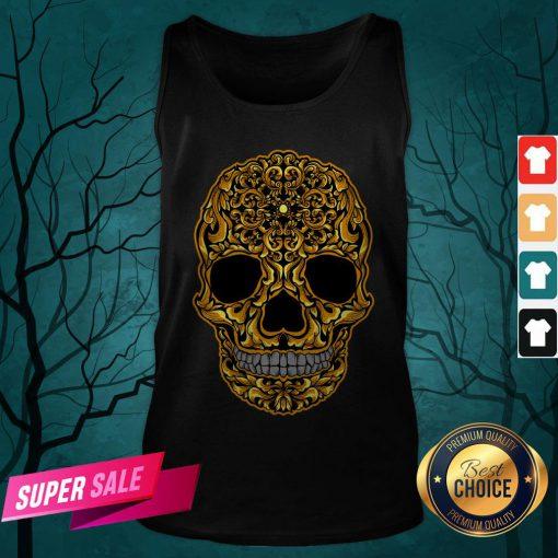 Gold Sugar Skull Day Dead Dia De Los Muertos Tank Top