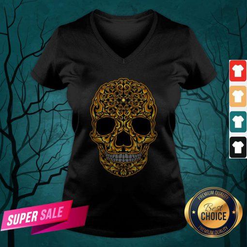 Gold Sugar Skull Day Dead Dia De Los Muertos V-neck