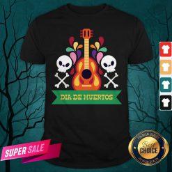 Guitar Sugar Skull Dia De Muertos Day Dead Shirt