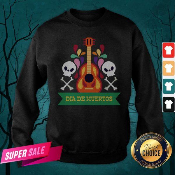Guitar Sugar Skull Dia De Muertos Day Dead Sweatshirt