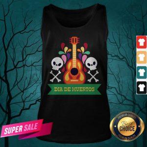 Guitar Sugar Skull Dia De Muertos Day Dead Tank Top