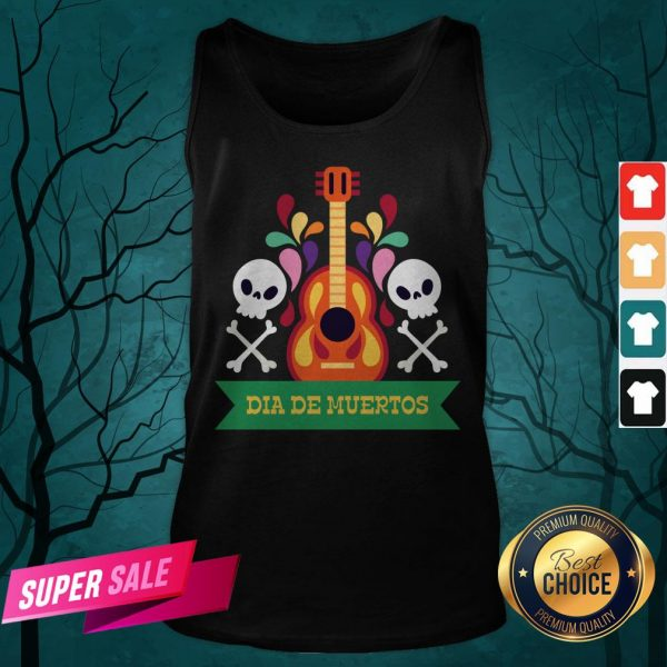 Guitar Sugar Skull Dia De Muertos Day Dead Tank Top
