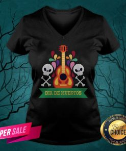 Guitar Sugar Skull Dia De Muertos Day Dead V-neck