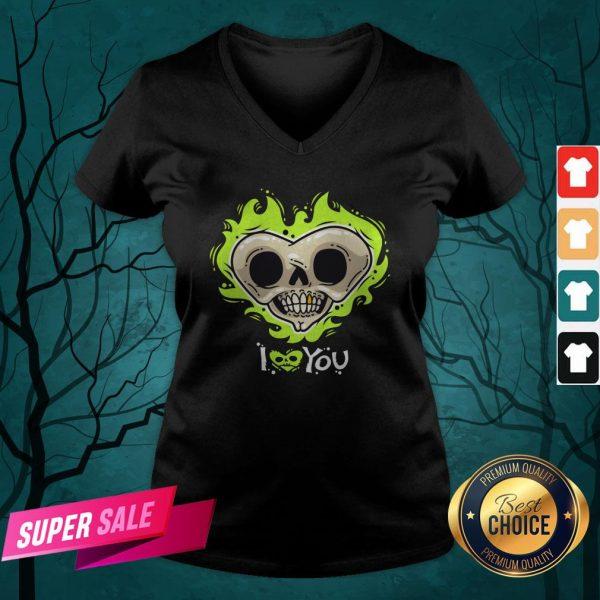 I Love You Skull Heart Halloween Day V-neck
