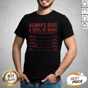 Nice Always Give A 100 At Work Shirt