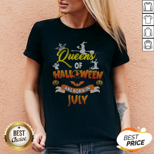 Nice Queen Of Halloween Are Born In July V-neck