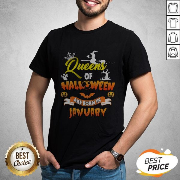 Official Queen Of Halloween Are Born In January Shirt