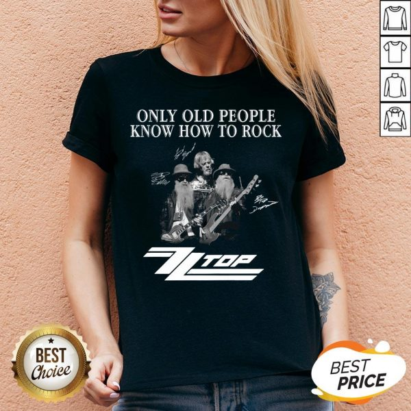 Only Old People Know How To Rock ZZ Top Signatures V-neck