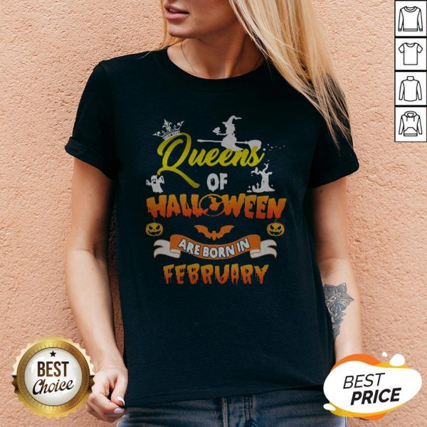 Original Queen Of Halloween Are Born In February V-neck