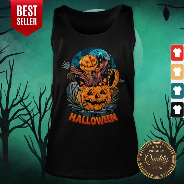 Sack Headed Human Comes Out Halloween Tank Top