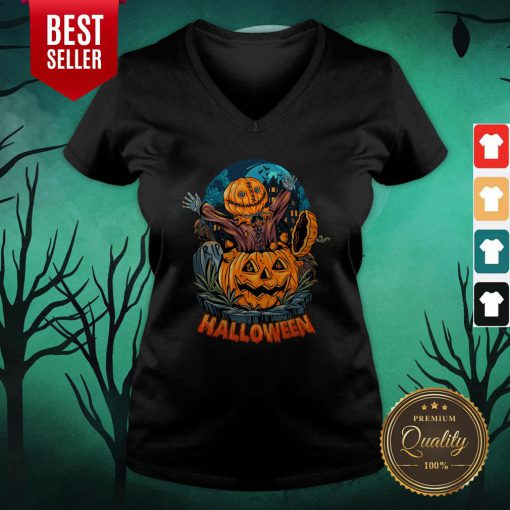 Sack Headed Human Comes Out Halloween V-neck