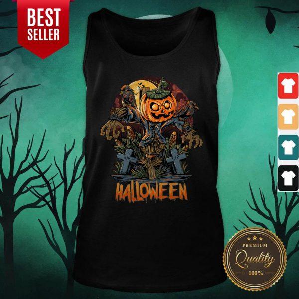 Scarecrow Pumpkins Halloween Tank Top