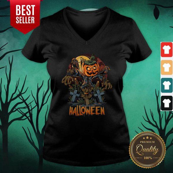 Scarecrow Pumpkins Halloween V-neck