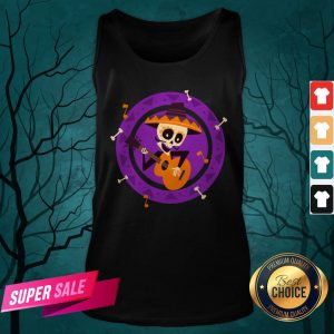 Skeleton Man Play Guitar Day Of The Dead Tank Top