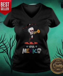 Skeleton Playing Trumpet Viva Mexico Day Of The Dead V-neck