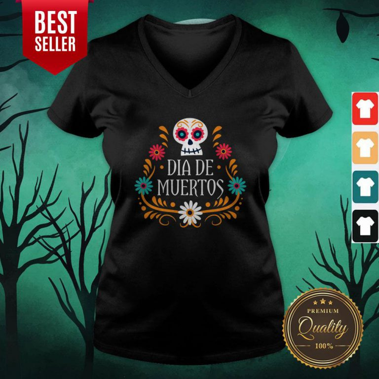 Skull Day Of The Dead Mexican Holiday V-neck