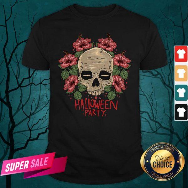 Skull Hibiscus Flower Halloween Party Shirt