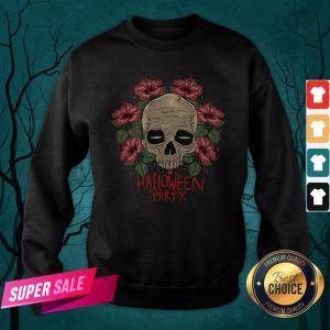 Skull Hibiscus Flower Halloween Party Sweatshirt