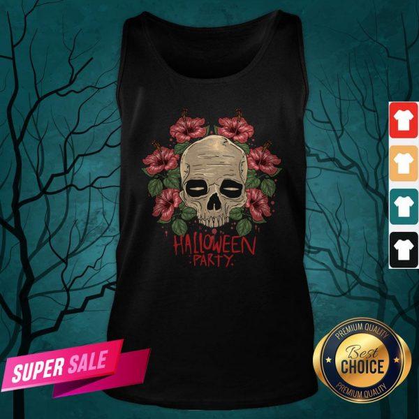 Skull Hibiscus Flower Halloween Party Tank Top