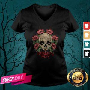 Skull Hibiscus Flower Halloween Party V-neck