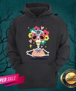 Sugar Flower Skeleton Day Dead Dia De Muertos Hoodie