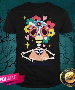 Sugar Flower Skeleton Day Dead Dia De Muertos Shirt