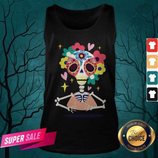 Sugar Flower Skeleton Day Dead Dia De Muertos Tank Top