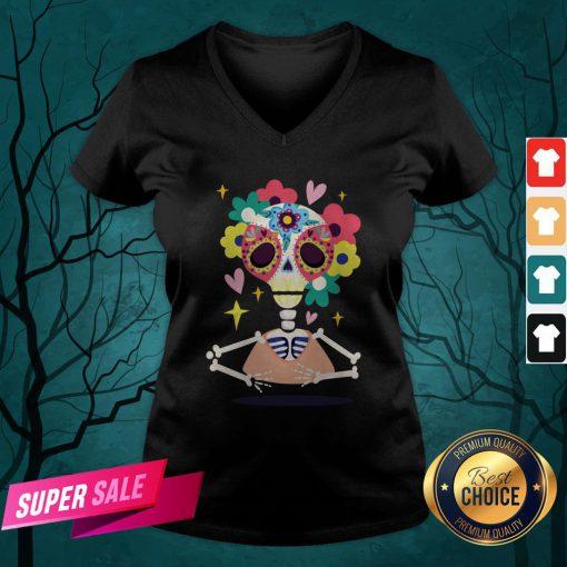 Sugar Flower Skeleton Day Dead Dia De Muertos V-neck