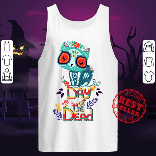 Sugar Skull Cat Day Of The Dead Tank Top