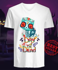 Sugar Skull Cat Day Of The Dead V-neck