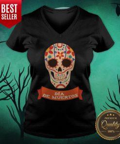 Sugar Dead Dia De Muertos V-neck - Design By Earstees.com