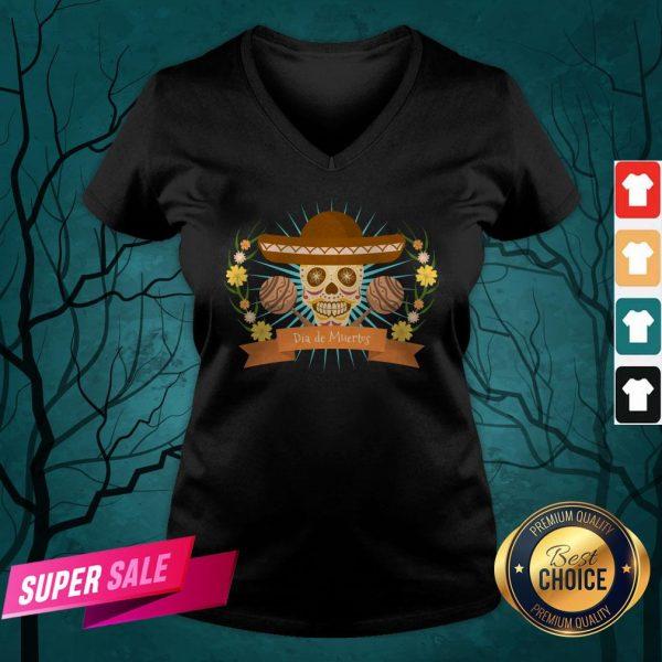 Sugar Skull Dia De Muertos Day Dead Mexican Holiday V-neck