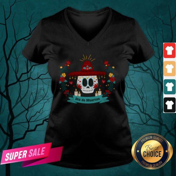 Sugar Skull Dia De Muertos In Mexican Holiday V-neck