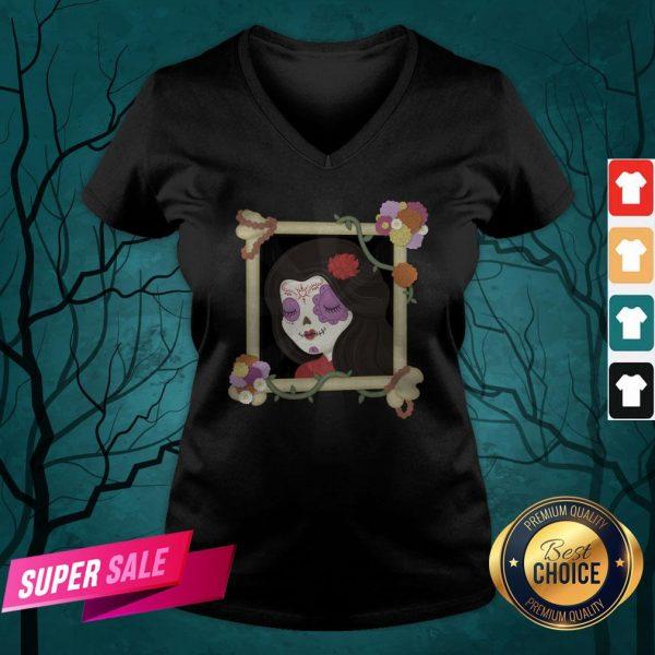 Sugar Skull Girl Beautiful Day Of The Dead Dia De Muertos V-neck