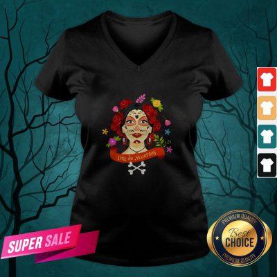 Sugar Skull Woman Dia De Muertos Day Of The Dead V-neck