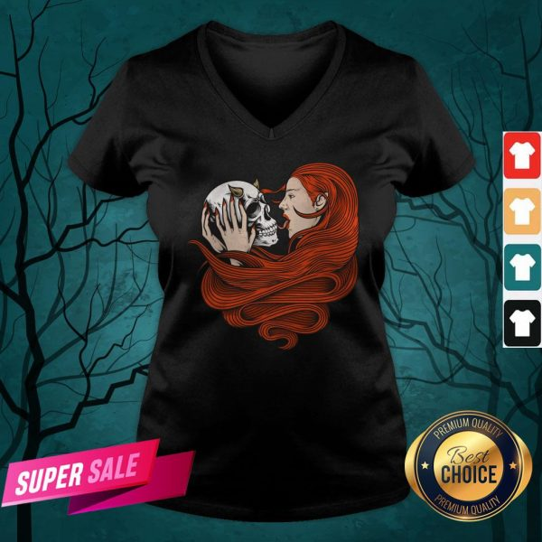 The Girl With Sugar Skull Day Of Dead V-neck