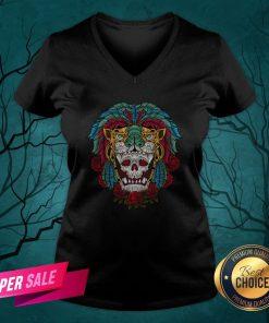 The Mexico Holiday Sugar Skull Dia De Muertos Day Dead V-neck