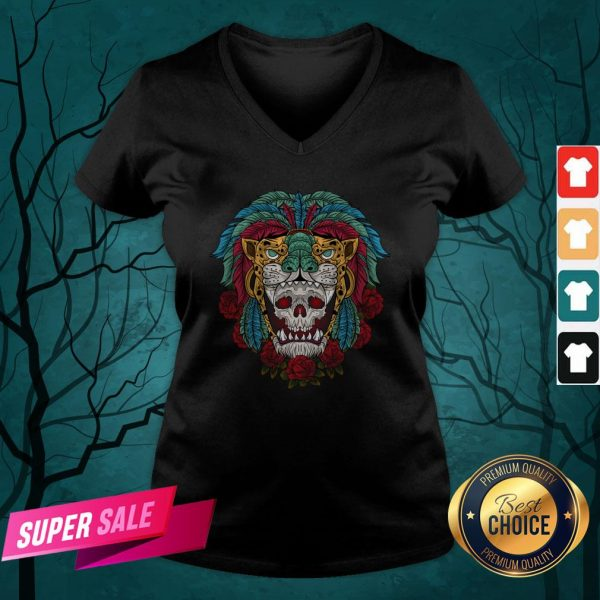 The Mexico Holiday Sugar Skull Dia De Muertos Day Dead V-neck
