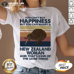 Nice Kiwi Bird You Can't Buy Happiness But You Can Marry A New Zealand Woman Vintage Retro V-neck - Design By Earstees.com