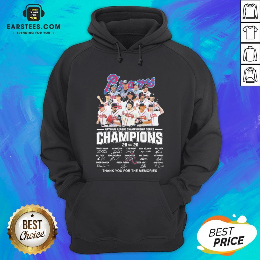 Nice Atlanta Braves National League Championship Series Champions 2020 Thank You For The Memories Signatures Hoodie - Design By Earstees.com