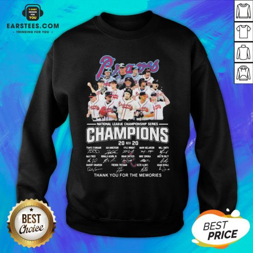 Nice Atlanta Braves National League Championship Series Champions 2020 Thank You For The Memories Signatures Sweatshirt - Design By Earstees.com