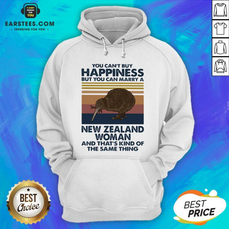 Nice Kiwi Bird You Can't Buy Happiness But You Can Marry A New Zealand Woman Vintage Retro Hoodie - Design By Earstees.com