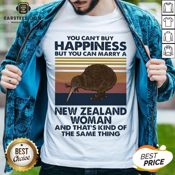 Nice Kiwi Bird You Can't Buy Happiness But You Can Marry A New Zealand Woman Vintage Retro Shirt - Design By Earstees.com