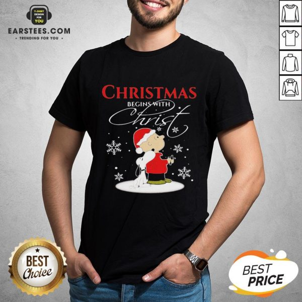 Awesome Merry Christmas Snoopy And Charlie Brown Begins With Christ Shirt - Design By Earstees.com